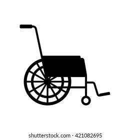 Vector black wheelchair icon on white background.