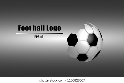vector of black and white 3D football logo on black and white gradient background