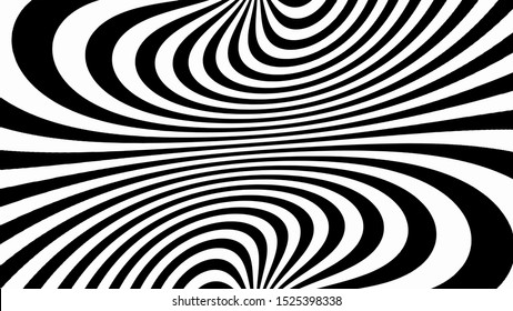 Vector - Black and white abstract  striped illusion.