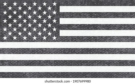Vector black and white American flag.