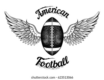 Vector Black and White American Football Ball Wings Illustration