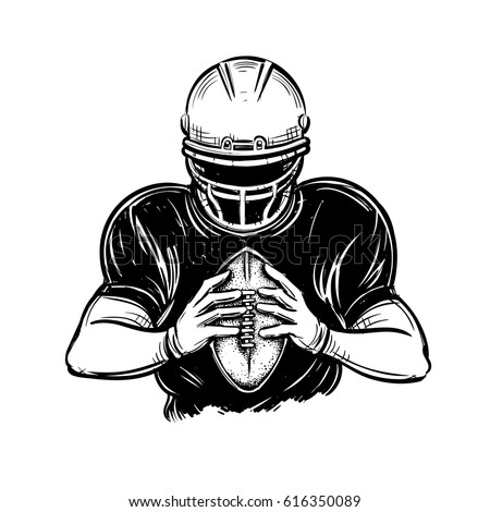 Vector Black White American Football Player Stock Vector Royalty