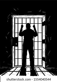 Vector black and white artistic hand drawing of prisoner in prison cell holding iron bars. Light coming from outside is casting shadow.