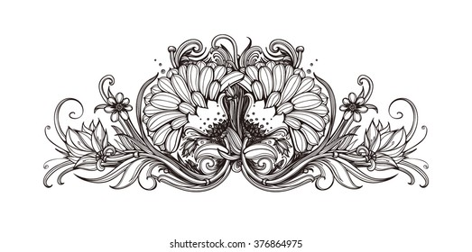 Vector black and white background with flowers. Black and white floral pattern design. Floral design element isolated on white background. Hand drawn flowers background. Black and white artwork.