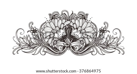 Vector Black White Background Flowers Black Stock Vector Royalty