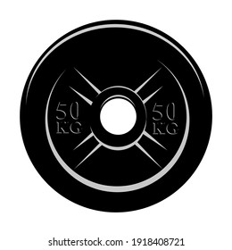 Vector Black and White barbell Plate, isolated on white