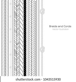 Vector Black and White Braids and Cords Background - Simple Ropes Template for Design Project