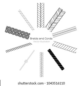 Vector Black and White Braids and Cords Round Ring Background - Simple Ropes Template for Design Project