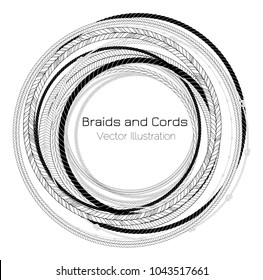 Vector Black and White Braids and Cords Round Bight Background - Simple Ropes Frame Template for Design Project