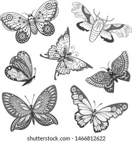 Vector Black and White Butterflies Collection