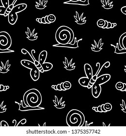 Vector black and white butterfly snail caterpillar repeat pattern. Suitable for gift wrap, textile and wallpaper. Surface pattern design.