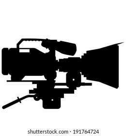 Vector Black And White Camera Film Icon Isolated