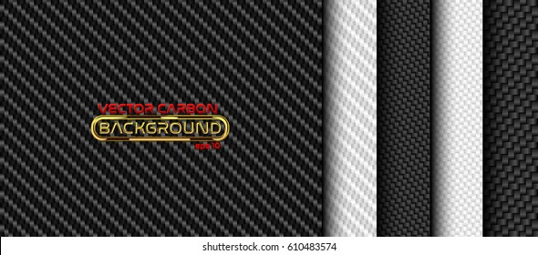 Vector black and white carbon fiber seamless background set. Textures collection.
