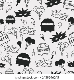 Vector black and white carnival seamless repeat pattern background.