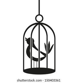 Vector Black And White Cartoon Bird On Birdcage