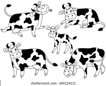 Vector black and white cartoon cute cows set, cow clipart, vector illustration