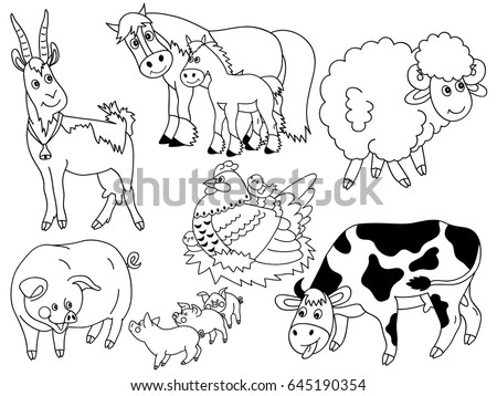 Vector Black White Cartoon Farm Animals Stock Vector Royalty Free