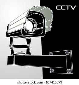 Vector black and white cctv camera