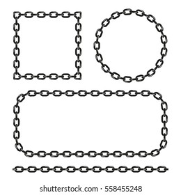 Vector black and white chain frames set