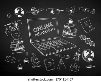 Vector black and white chalk drawn illustration set of online education items on chalkboard background.