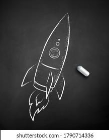 Vector black and white chalk drawn illustration of rocket on black chalkboard background.
