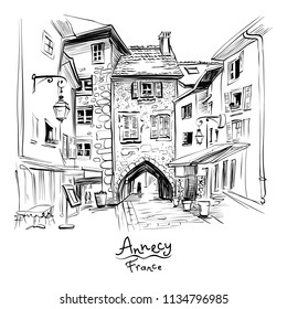 Vector black and white , city view with Gorgeous medieval arch gate Sepulchre Gate on the street Rue Sainte-Claire in Old Town of Annecy, France.