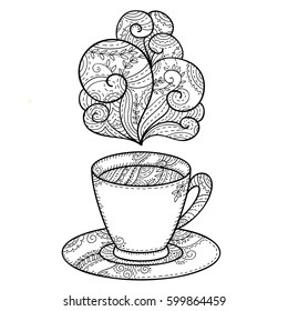Vector black and white coffee cup with steam. Monochrome illustration