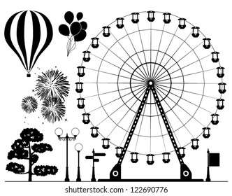vector black and white collection of background silhouette elements of ferris wheel, hot air balloons, fireworks, lamps, tree and road signs for amusment  park graphic design