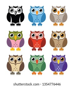 vector black and white and colorful owl icons isolated on whie background. owl bird logo graphic design, wisdom symbol