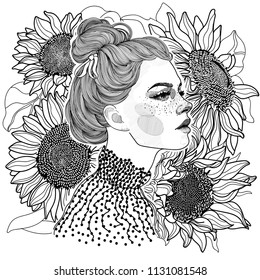 vector black and white coloring ornament face of beautiful girl in profile, on her head hairstyle bunch, on background of large ripe sunflowers with seeds