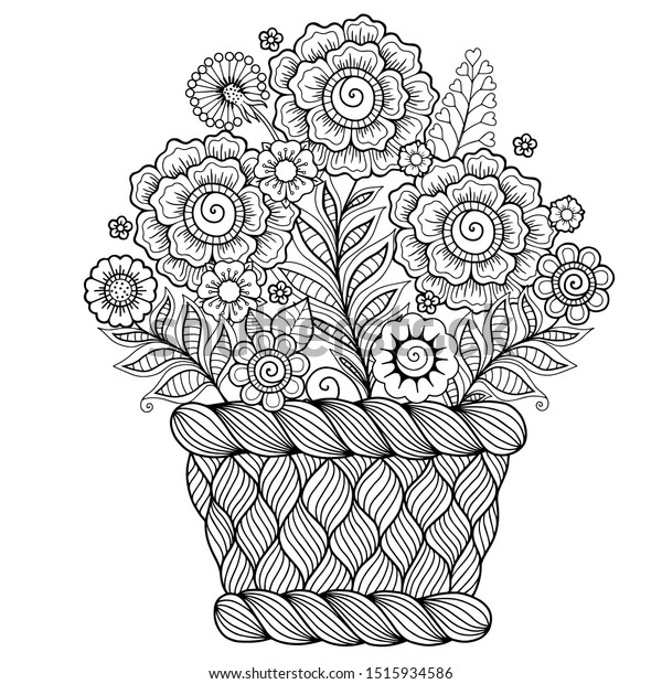 Vector Image Kitten Basket Flowers Ornament Stock Vector (Royalty ... | 620x600