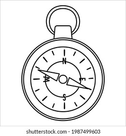 Vector black and white compass icon isolated on white background. Camping or hiking equipment outline illustration for kids. Line art orienteering device for forest tourism or travelling.