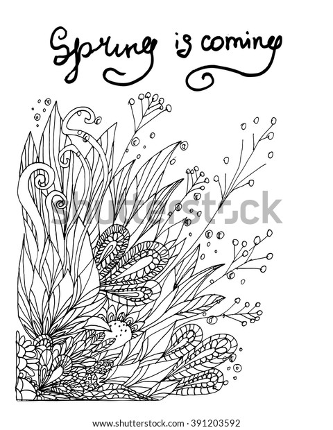 Vector Black White Composition Meadow Flowers Stock Vector ...