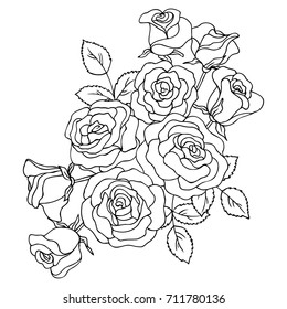 Rose outline images stock photos vectors shutterstock vector black white contour simple illustration of rose flowers mightylinksfo