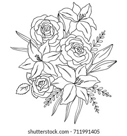 vector black white contour simple illustration of lily rose flowers