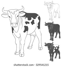 Vector black and white cow. Side view. Isolated objects