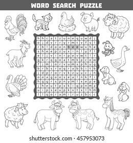 Vector black and white crossword, education game for children about farm animals and pets. Word search puzzle