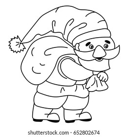 Vector black and white cute cartoon gnome carrying a bag. Gnome clipart. Gnome vector illustration.