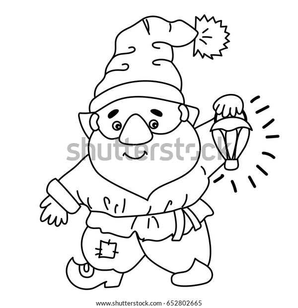 Christmas Gnome Clipart Black And White.Vector Black White Cute Cartoon Gnome Stock Vector Royalty