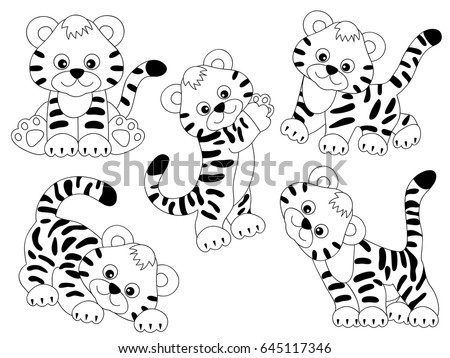 Vector Black White Cute Tigers Tiger Stock Vector Royalty Free