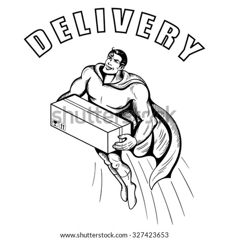 Vector Black White Delivery Man Illustration Stock Vector Royalty