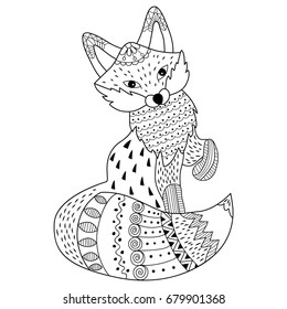Vector black and white doodle fox. Detailed ornamental sketch of fox in tribal style. Creative colouring for adults, anti stress. Doodle fox vector illustration.