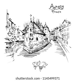 Vector black and white drawing, city view of the Palais de l'Isle and Thiou river in old city of Annecy, Venice of the Alps, France.