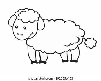 Vector black and white drawing, cute sheep