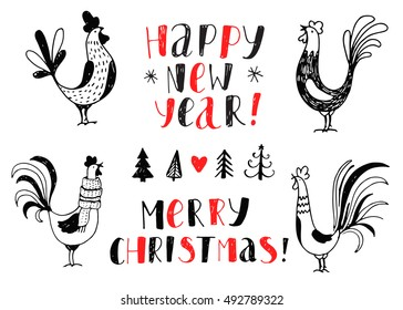 Vector black and white elements.  Hand drawn background with rooster and fir tree. Handwritten inscription Happy New Year and Merry Christmas. Modern calligraphy.