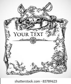 vector black white engraved pirate treasure stock vector 83789623