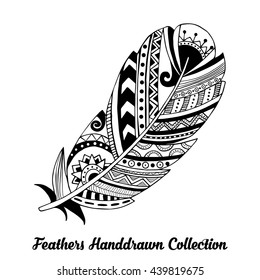 Vector black and white feather illustration. Ink illustration isolated on white background.  Flat feather vector icon.