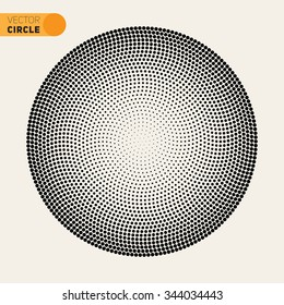 Vector Black And White Fibonacci Spiral Circle Halftone Pattern Design Element Abstract Background