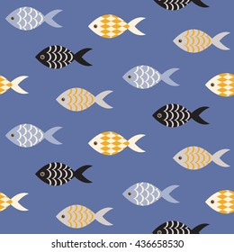 Vector black and white fish seamless pattern. Shoal of fish in rows on blue ocean pattern. Summer marine theme.