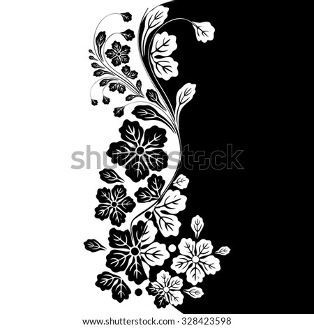 Vector Black White Floral Background Stock Vektorgrafik Lizenzfrei